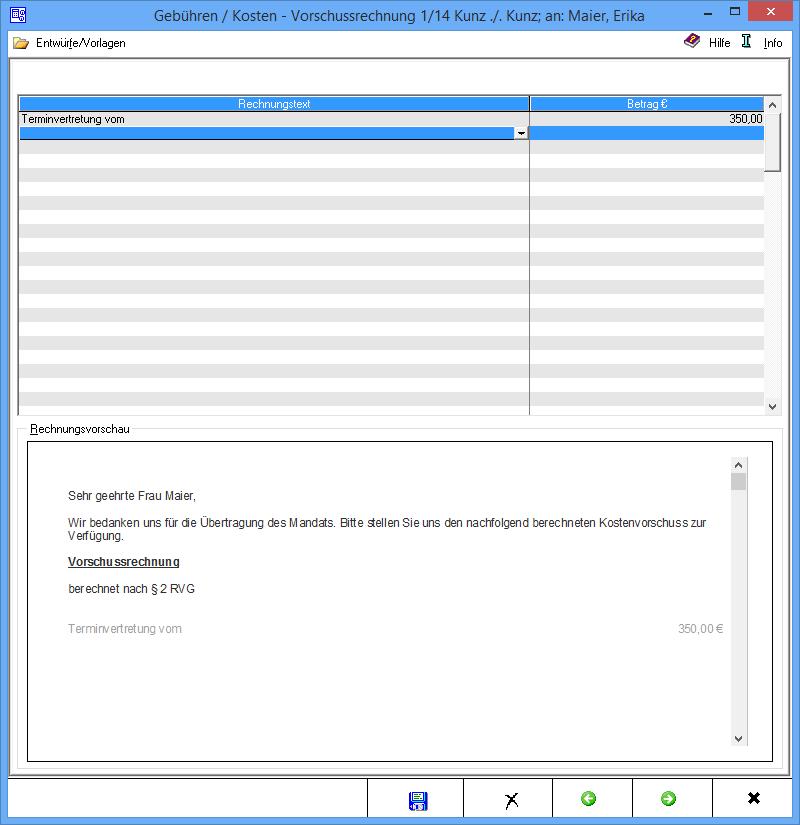 Vorschussrechnung Stammdaten Rechnungstext – RA-MICRO Wiki